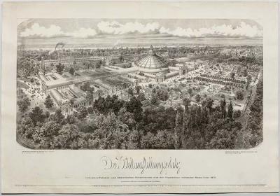 antiker Holzschnitt Weltausstellung