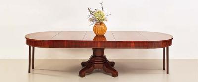 antiker Auszugtisch, Biedermeier, Mahagoni