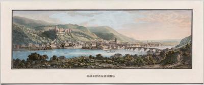 antike Farblithografie Heidelberg, um 1860
