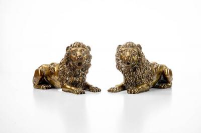 Paar Löwen, Skulpturen, Bronze, 18./19. Jhdt.