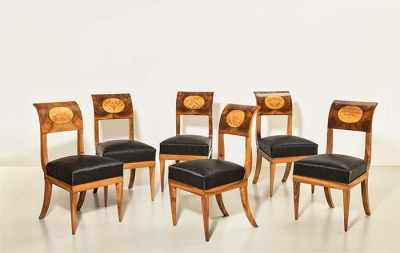 Satz antike Stühle, Biedermeier, um 1820