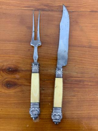 Tranchierbesteck, Silber, Horn, Eisen, um 1860