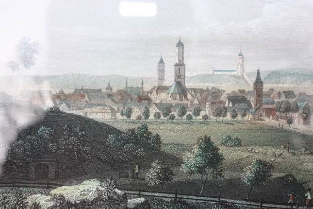 "Kaufen antike Lithografie ""Biberach"", Eberhard Emminger (1808 - 1885)"
