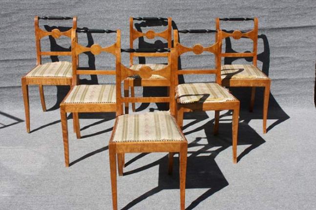 Restaurierung Satz Stühle, Biedermeier, um 1840 gefertigt