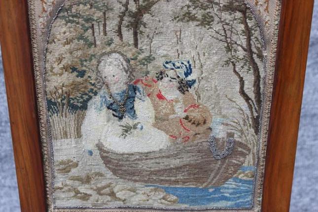 Tischparavent, Biedermeier, mit Stickerei
